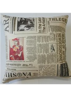 New Arrival European Style Antique Newspaper Print Throw Pillow