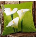 New Arrival Beautiful Three Heads of Calla Flowers Print Throw Pillowcase