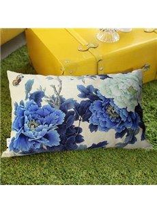 New Arrival Beautiful Classy Blue Peony Flowers Print Rectangular Throw Pillowcase