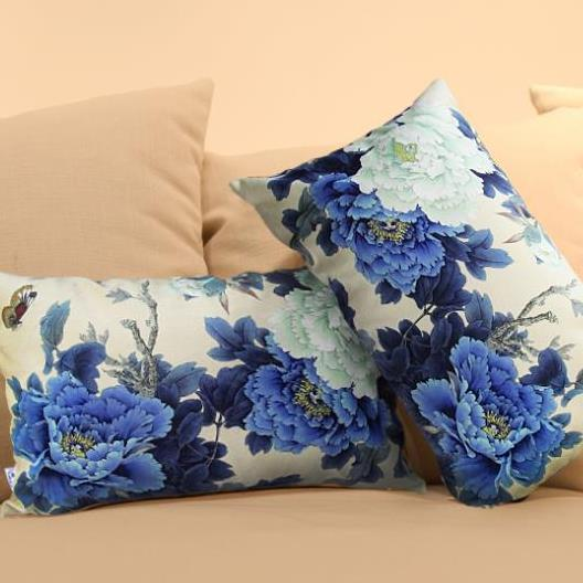 Beautiful Classy Blue Peony Flowers Print Rectangular Throw Pillowcase