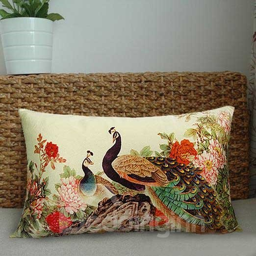 New Arrival Beautiful Peacocks and Colorful Flowers Print Throw Pillowcase