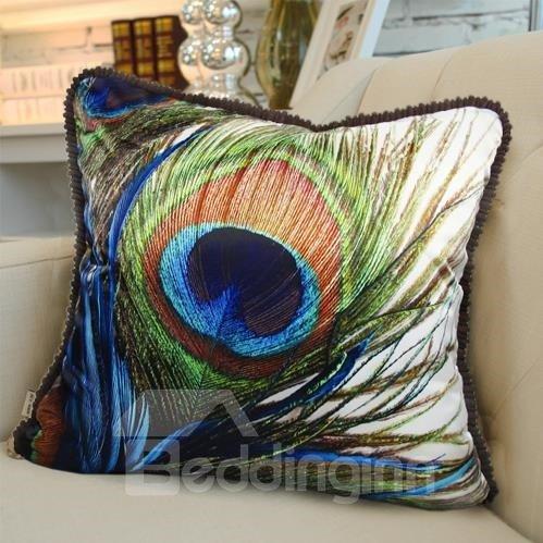 New Arrival Luxurious Peacock Feather Print Blue Throw Pillowcase