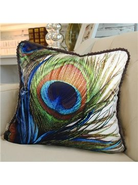 New Arrival Luxurious Peacock Feather Print Blue Throw Pillowcase