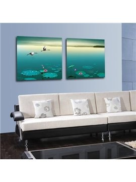 New Arrival Beautiful Sea Gulls Over the Lake Scenery Print 2-piece Cross Film Wall Art Prints