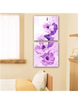 New Arrival Lovely Purple Flowers Print 2-piece Cross Film Wall Art Prints