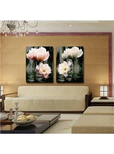 New Arrival Lovely White and Pink Flowers Print 2-piece Cross Film Wall Art Prints