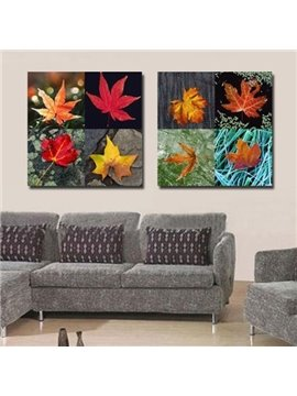 New Arrival Beautiful Maple Leaves Print 2-piece Cross Film Wall Art Prints
