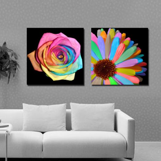Modern Style Colorful Flowers Print 2-piece Cross Film Large Canvas Prints