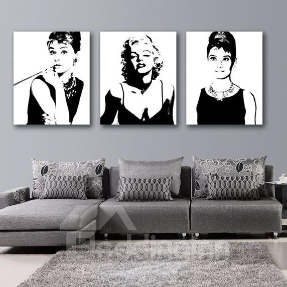 Black And White Paintings For Bedroom Bedroom Sets Black Modern Bedroom Black Bedroom Furniture Sets Pictures: Beautiful Marilyn Monroe And Audrey Hepburn Print 3-piece