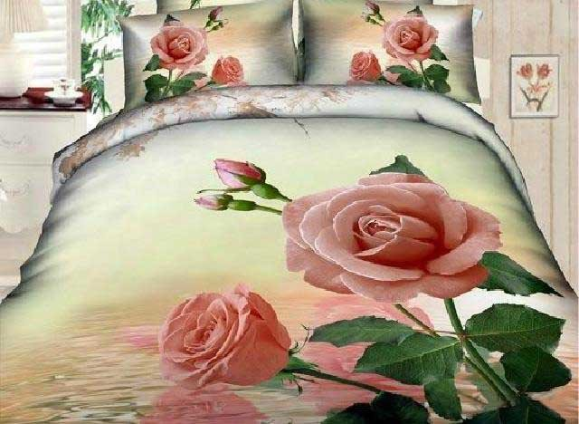 New Arrival Elegant Pink Roses Print 4 Piece Bedding Sets
