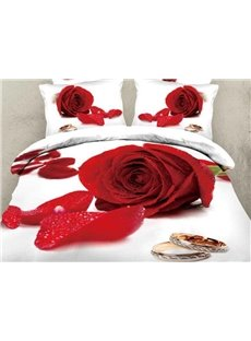 New Arrival Beautiful Red Rose and Ring Print 4 Piece Bedding Sets