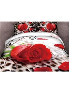 New Arrival Beautiful Rose and Diamond Ring Print 4 Piece Bedding Sets