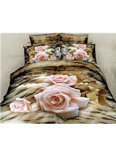 New Arrival Elegant Light Pink Rose Print 4 Piece Bedding Sets