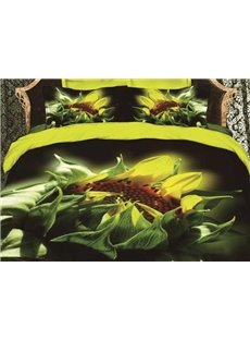 New Arrival Beautiful Sunflower and Green Leaves Print 4 Piece Bedding Sets