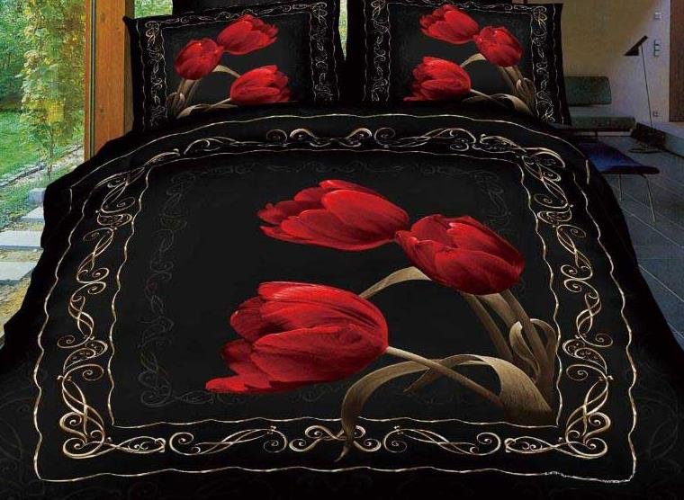 3D Red Tulips Printed Retro Style Cotton 4-Piece Black Bedding Sets/Duvet Cover