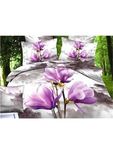 Gorgeous Light Purple Magnolia Print Cotton Duvet Cover Sets