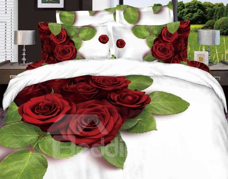 New Arrival Beautiful Red Roses and Green Leaves Patterns 4 Piece Bedding Sets