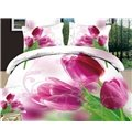 New Arrival Beautiful Purple Tulips Print 4 Piece Bedding Sets
