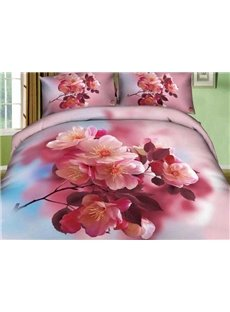 New Arrival Beautiful Pink Peach Blossoms Print 4 Piece Bedding Sets