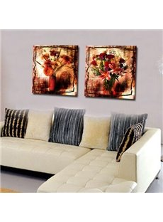 New Arrival Oil-painting Style Flowers in Vase Print 2-piece Cross Film Wall Art Prints