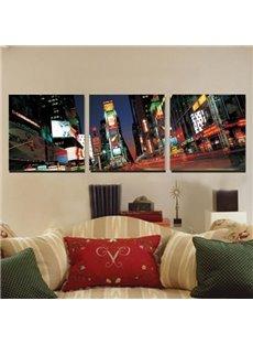 New Arrival Beautiful City Night Scenery Print 3-piece Cross Film Black Wall Art Prints