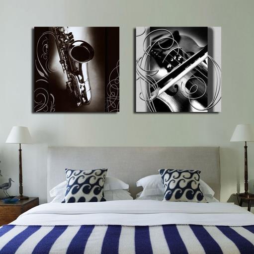 Vintage Black Saxophone Hanging 2-Piece Square Fabric Framed Wall Prints