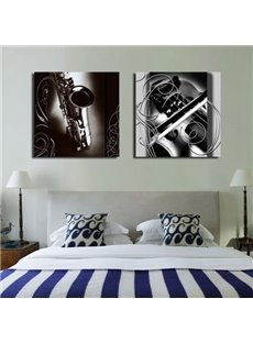 16×16in×2 Panels Black Saxophone Vintage Style Hanging Square Fabric Framed Wall Prints