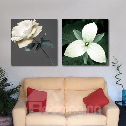 New Arrival Beautiful White Flowers Print 2-piece Cross Film Wall Art Prints