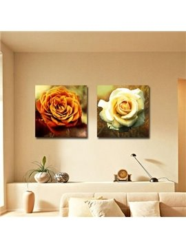 New Arrival Beautiful Yellow Flowers Print 2-piece Cross Film Wall Art Prints