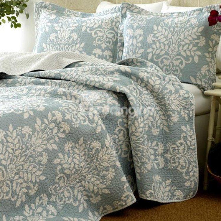 New Arrival Elegant Light Blue Floral Patterns 3-piece Bed in a Bag Sets