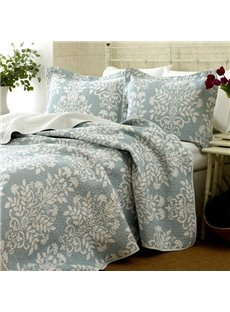 New Arrival Elegant Light Blue Floral Patterns 3-piece Bed in a Bag Sets