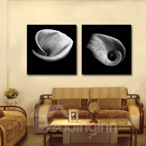 New Arrival Elegant Gray Tulip with Water Drops Print 2-piece Cross Film Wall Art Prints