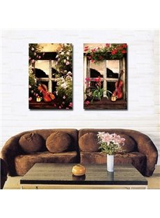 New Arrival Beautiful Violins Against the Floral Windows Print 2-piece Cross Film Wall Art Prints