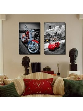 New Arrival Colorful Motorcycle and Car Print 2-piece Cross Film Wall Art Prints