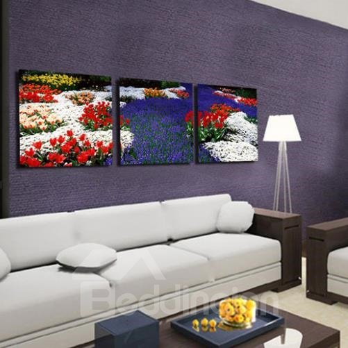 New Arrival Beautiful Sea of Colorful Flowers Print 3-piece Cross Film Wall Art Prints