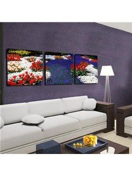 New Arrival Beautiful Sea of Colorful Flowers Print 3-piece Cross Film Wall Art Prints
