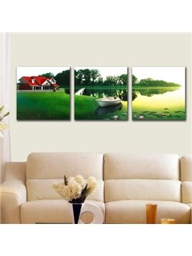 New Arrival Beautiful Cabin and Boat by the Lake Print 3-piece Cross Film Wall Art Prints