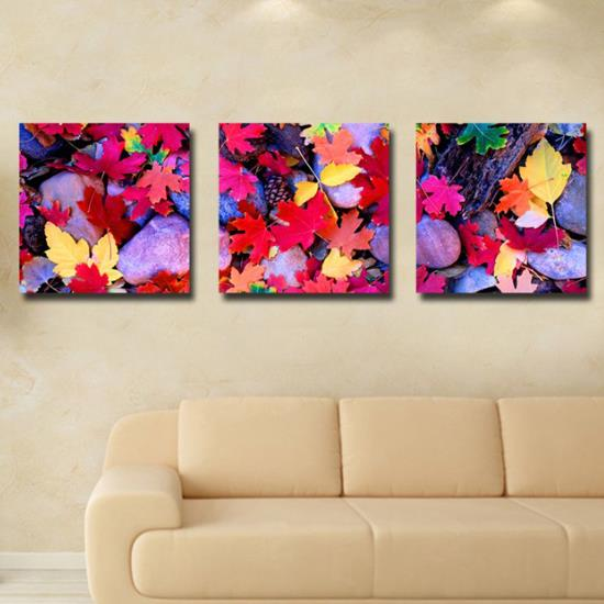 New Arrival Lovely Colorful Maple Leaves Print 3-piece Cross Film Wall Art Prints