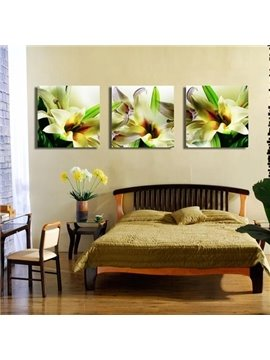 New Arrival Elegant Lily Flowers and Green Leaves Print 3-piece Cross Film Wall Art Prints