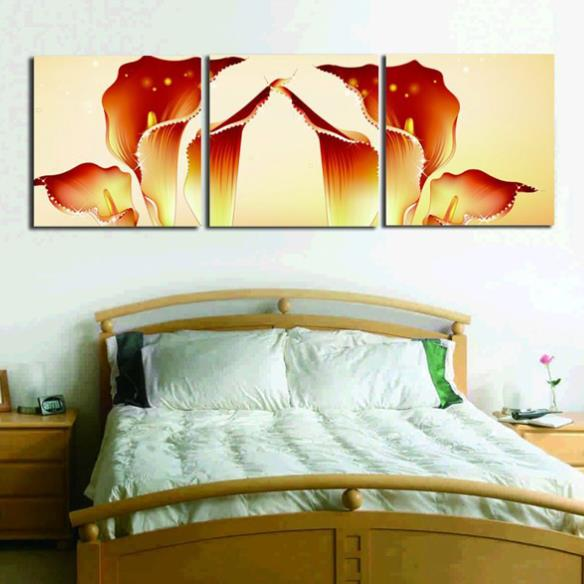Amazing Golden Tulips Print 3-piece Cross None Framed Film Wall Art Prints