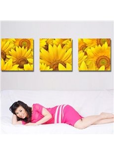 New Arrival Lovely Sunflowers Print 3-piece Cross Film Wall Art Prints