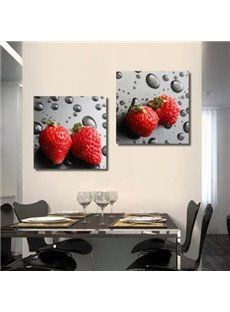 New Arrival Lovely Strawberry and Water Drops Print 2-piece Cross Film Wall Art Prints