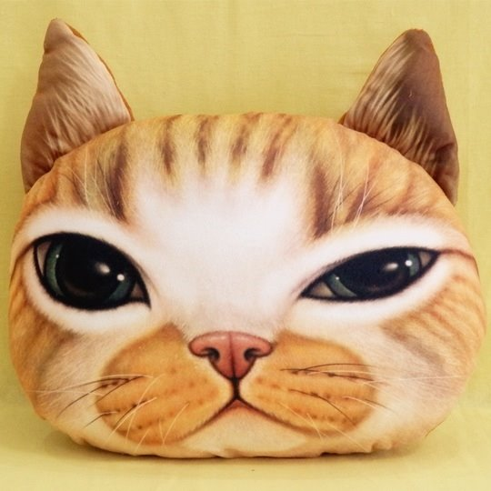 Lovely Yellow Cat Squinting Print Throw Pillow