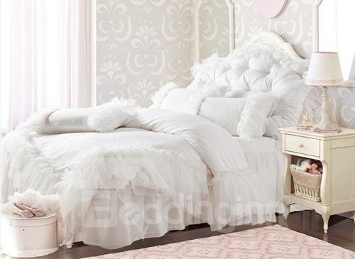 New Arrival Princess Style Pure White Lace Borders Bed-skirt 4 Piece Bedding Sets