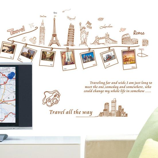 Beautiful Simple Style World Travel Map Print Wall Stickers