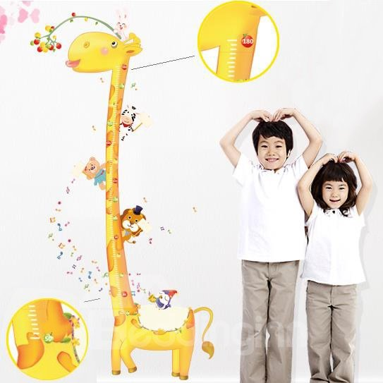 New Arrival Cute Giraffe Print Height Measurement Wall Stickers