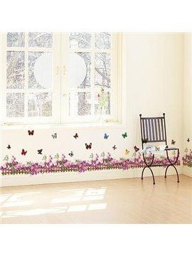 Beautiful Purple Flowers and Fence with Butterflies Print Wall Stickers