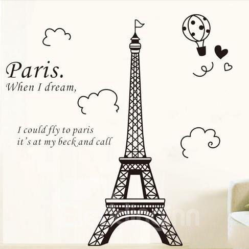 Beautiful Black Paris Eiffel Tower Print Wall Stickers
