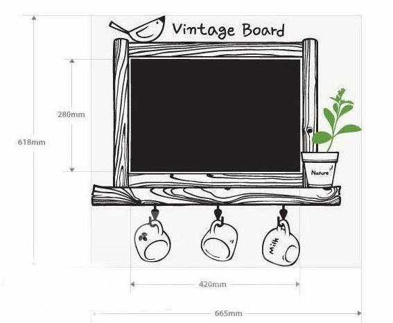 Lovely Vintage Black Board and Cup Print Wall Stickers