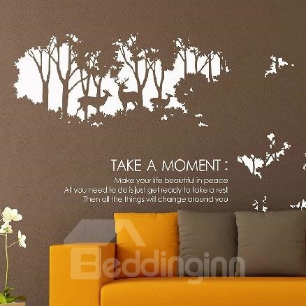 New Arrival Beautiful Reindeer in the Forest Print Wall Stickers
